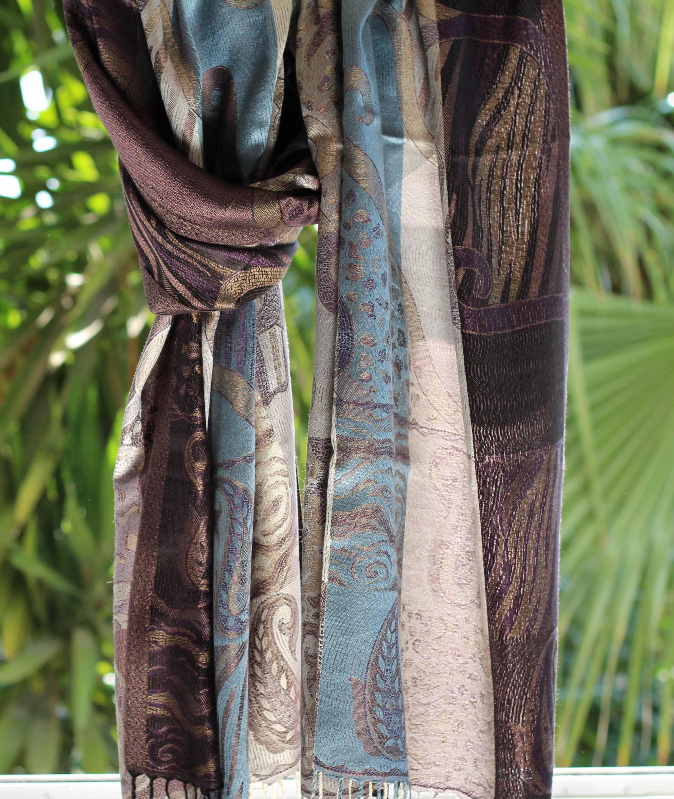 Étole en soie gris bleu violet - Sajani 72be6095532