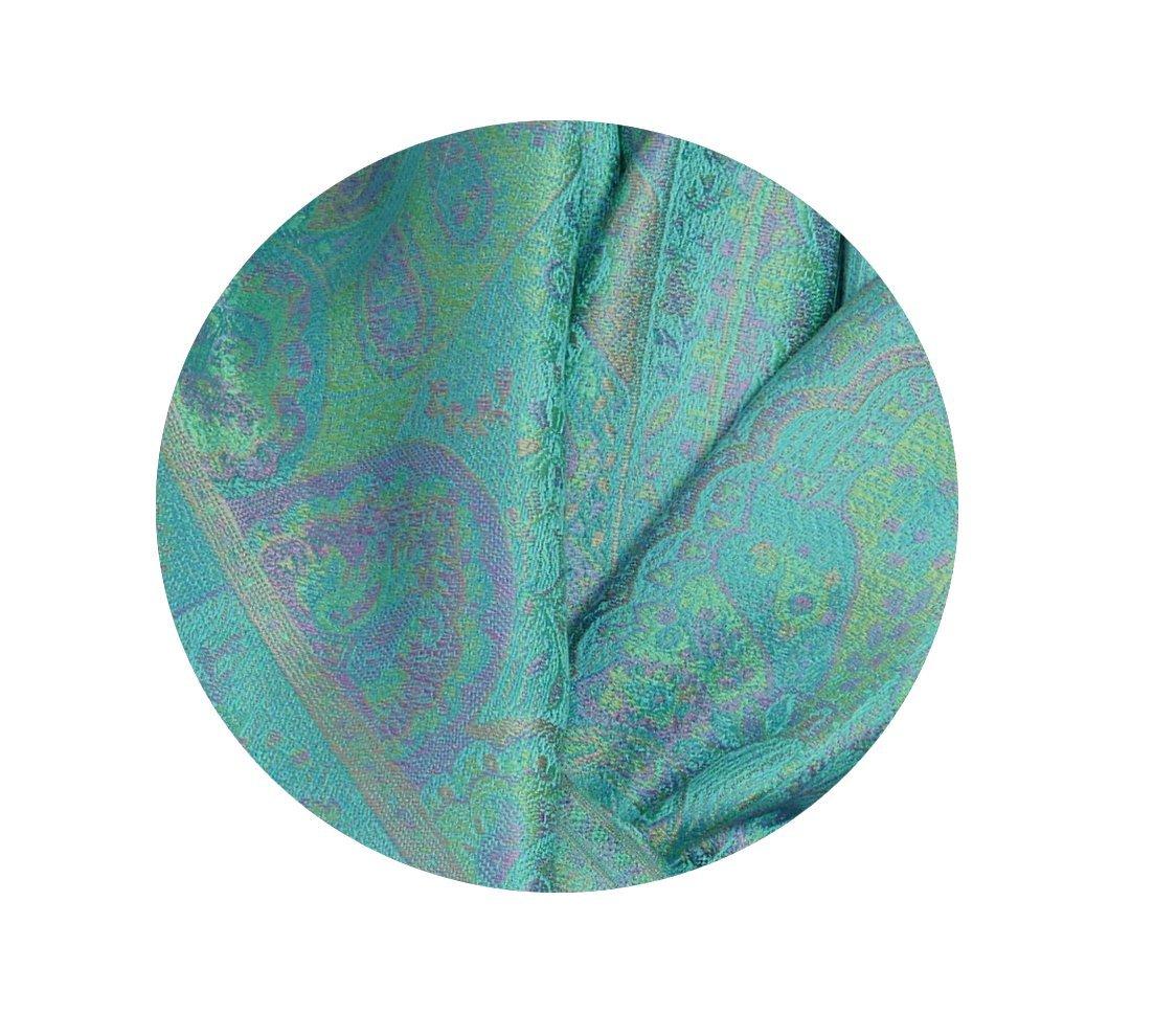 Étole en soie turquoise mauve - Sajani 3ee1869d0fd