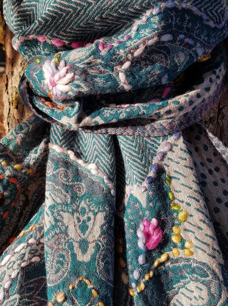 Étole en laine bouillie vert bleu - Sajani 24db81900e4