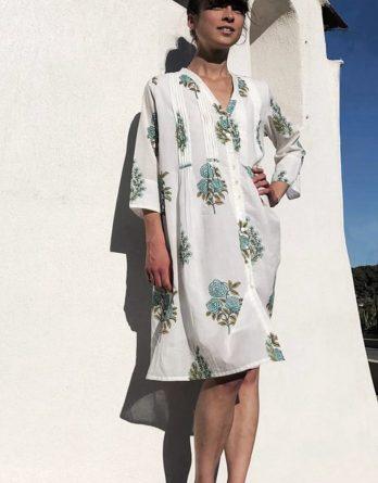 Robe en coton Sandra jardin moghol turquoise