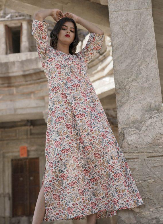 Robe longue imprimé Jardin Fleuri