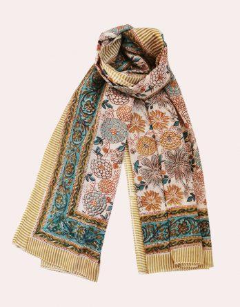 Foulard en coton Fleurs Bleues